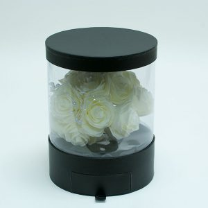 Clear Round Shape Flower Box with Black Lid and Base with Drawer