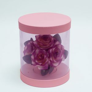 Clear Round Shape Flower Box with Pink Lid and Base