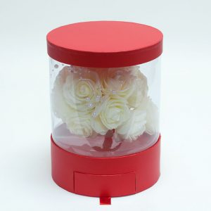 Clear Round Shape Flower Box with Red Lid and Base with Drawer