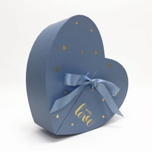 W6879 Baby Blue Heart Shape Flower Box with Ribbon Opens From Middle Nested Heart
