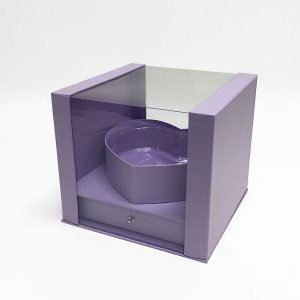 W7249 Lavender Clear Square PVC Flower Box With Heart Shape in the Middle