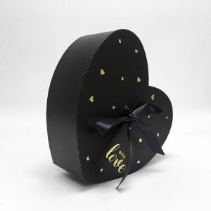 w6876 Black Heart Shape Flower Box with Ribbon Opens From Middle Nested Heart