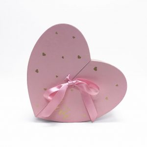 W6877 Pink Heart Shape Flower Box with Ribbon Opens From Middle Nested Heart