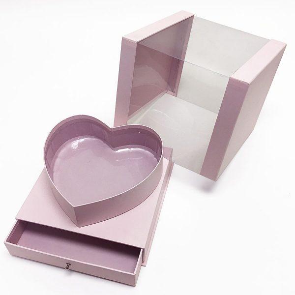 Pink Clear Heart Shape Box