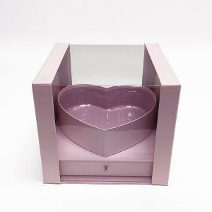 W7247 Pink Clear Square PVC Flower Box With Heart Shape in the Middle