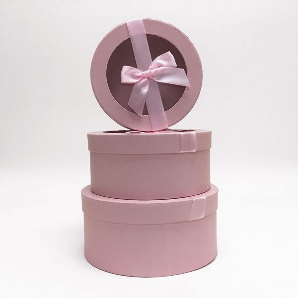 Pink Round Flower Boxes With Ribbon