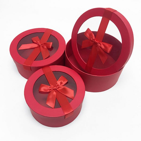 W7411 Red Round Flower Boxes