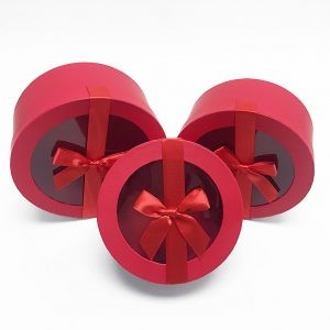 W7411 Red Round Shape Flower Boxes Set of 3 With Ribbon