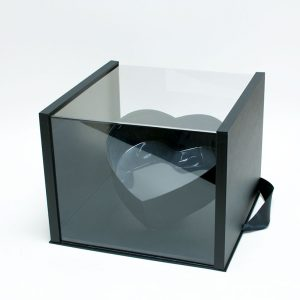 1021Ablk Black Acrylic Square Flower Box Tilted Heart Center
