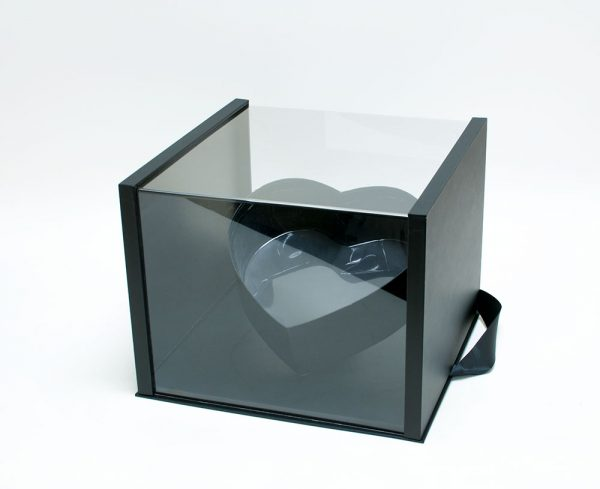 Black Acrylic Flower Box with Tilted Heart