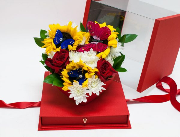 Red Acrylic Flower Box