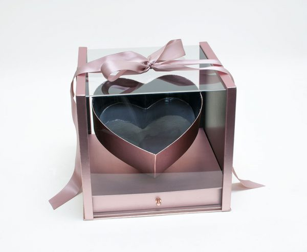 Rose Gold Acrylic Flower Box with Drawer and Ribbon