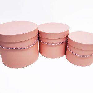 W7008Pink Pink Round Flower Paper Box with Lid Set of 3 (S/M/L)