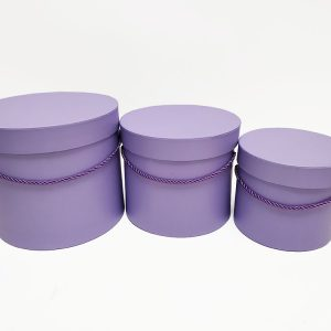W7008PPL Lavender Round Flower Paper Box with Lid Set of 3 (S/M/L)