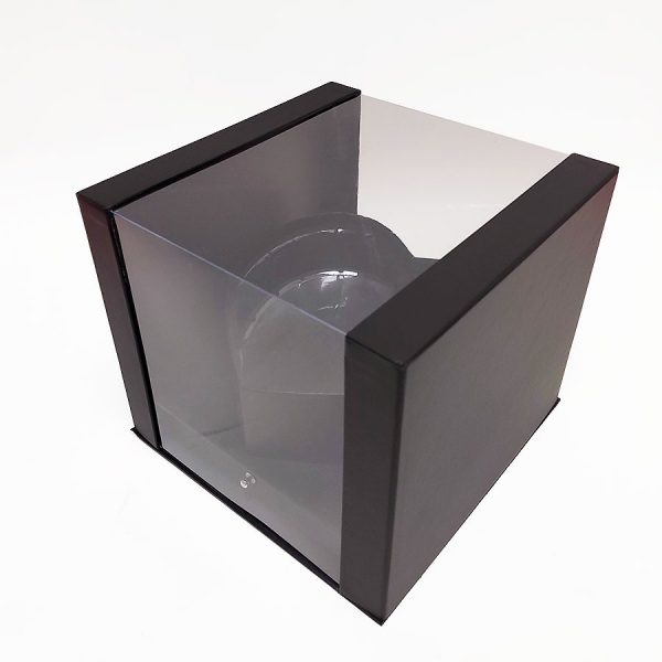 Black Square Clear Flower Box With Heart