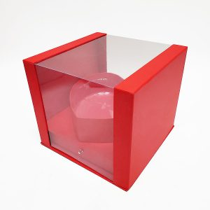 W7354 Red Clear Square PVC Flower Box With Heart Shape in the Middle
