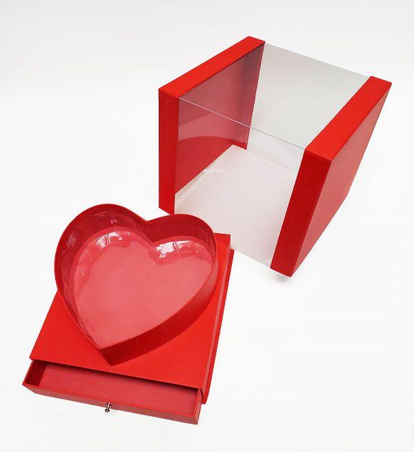 Red Square Transparent Flower Box
