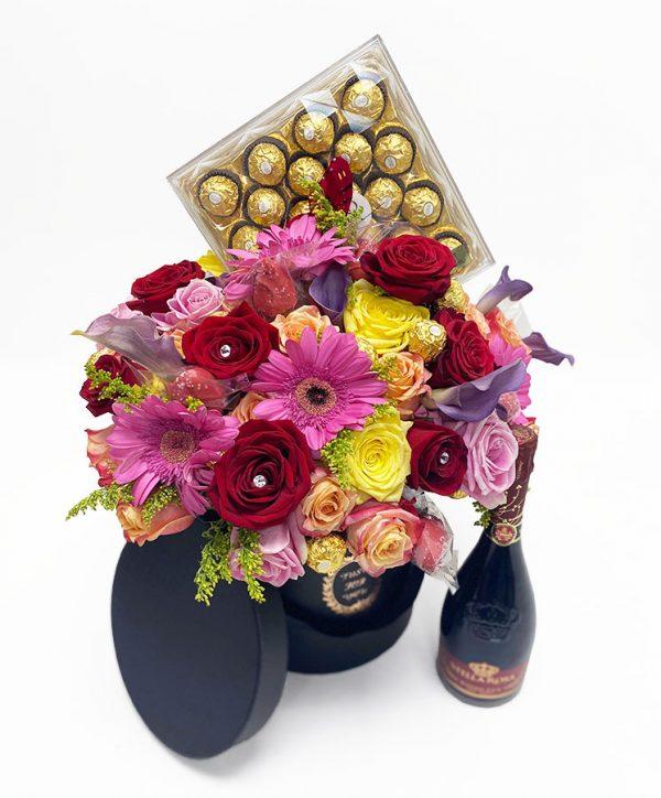 Black Round Flower Boxes Set of 3