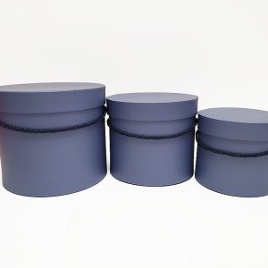 W9394 Slate Blue Round Flower Paper Box with Lid Set of 3 (S/M/L)