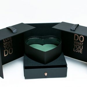 Black Square Flower Box with Heart Shape Container and Drawer Enclosed Comes With Liners And Foams