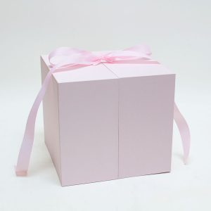 Pink Cloth Square Flower Box with Heart Shape Container and Drawer Enclosed Comes With Liners And Foams