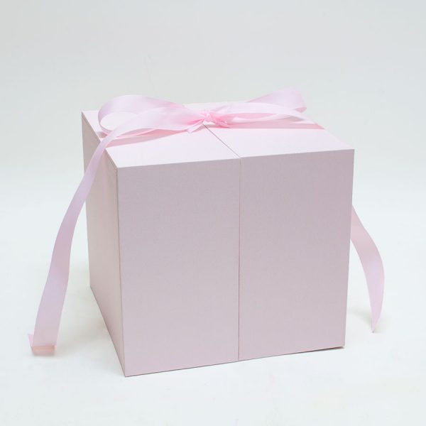 Pink Square Flower box with Heart Shape Container