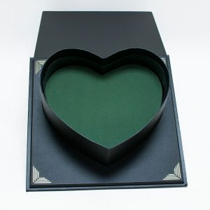 Black Square Flower Box With Heart Shape Container Foam and Liner Included