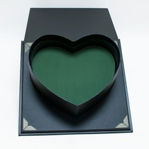 Black Square Flower Box With Heart Shape Container