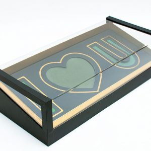 Acrylic I Love You Flower Box Comes With Liners and Foams Black