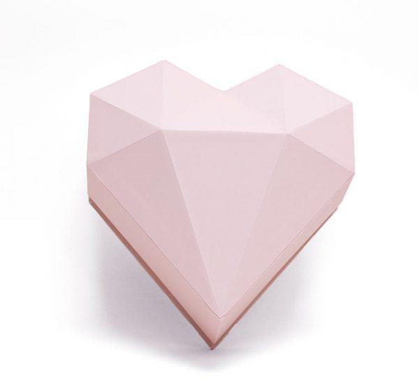 Pink Diamond Heart Shape Flower Boxes