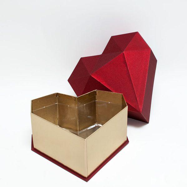Red Diamond Heart Shape Flower Box