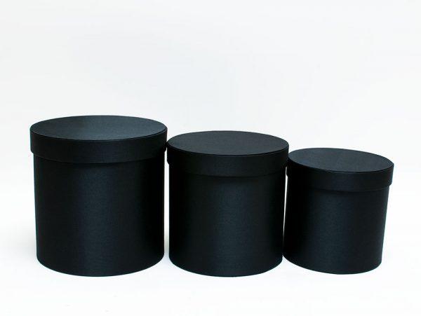set of 3 black cloth flower boxes