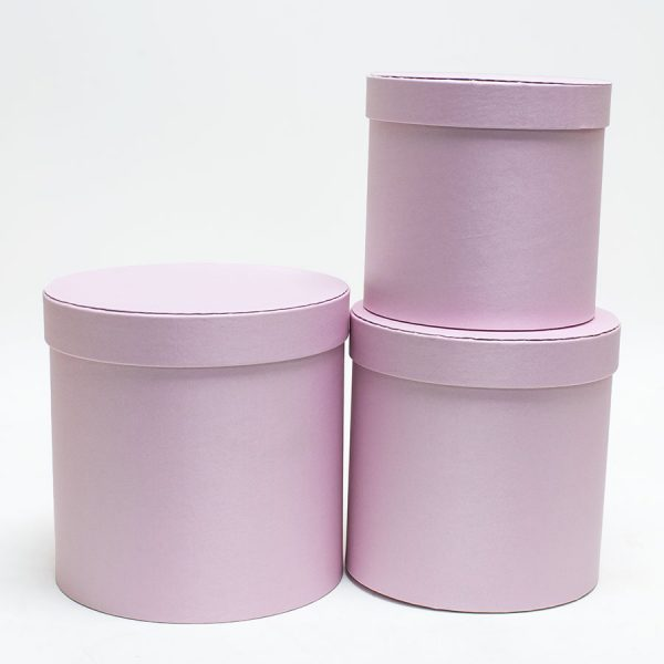 Pink Cloth Flower Boxes set of 3
