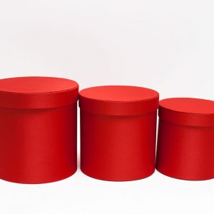 Red Cloth Round Flower Boxes Set of 3 W5039