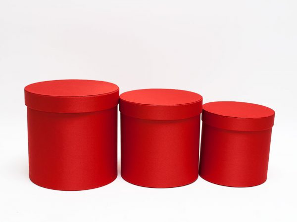 Red Cloth Round Flower Boxes set of 3