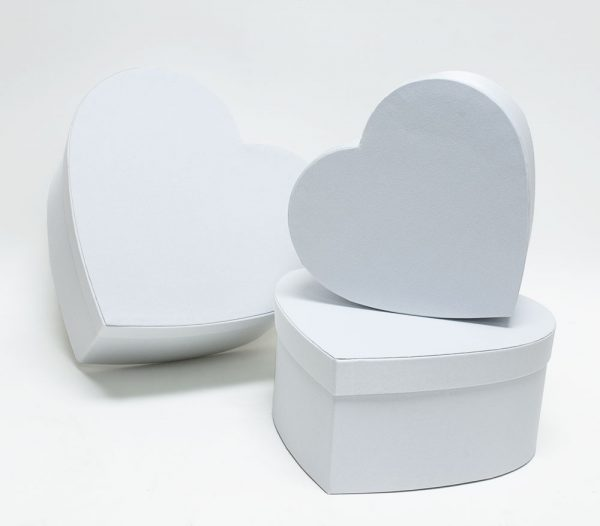 White Fabric Heart Shape Flower boxes set of 3