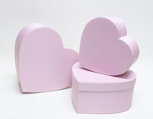 Pink Fabric Heart Shape Flower boxes