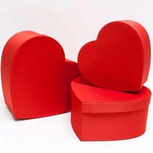 W5043 Red Fabric Heart Shape Flower boxes set of 3