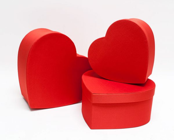 Red Cloth Heart shape Flower Boxes