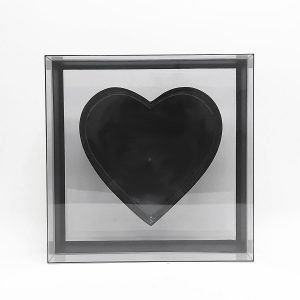 X Large Black Transparent Hard Plastic Square Flower Box With Heart Shape In The Middle