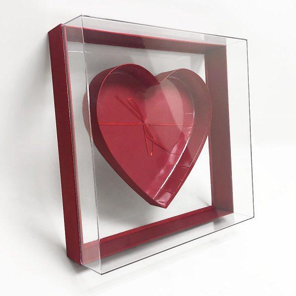Large Red Transparent Square Heart Shape Flower Box