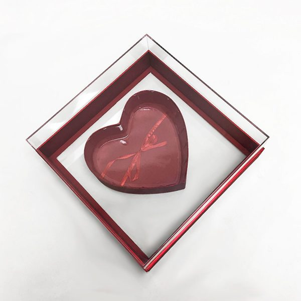 Red Clear Square Heart Shape Flower Box