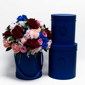 "W9218RB Royal Blue ""Just For You"" Tall Round Flower Box Set of 3"