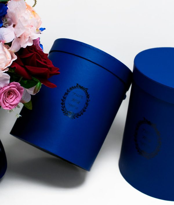 Royal Blue Round Flower Boxes Set of 3