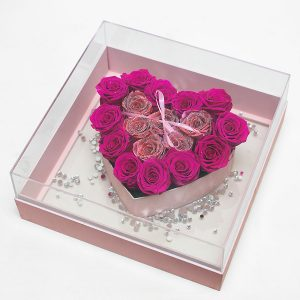 Pink Transparent Hard Plastic Square Flower Box With Heart Shape In The Middle