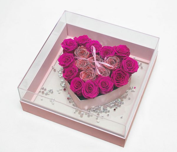 Transparent Square With Heart Shape Flower Boxes