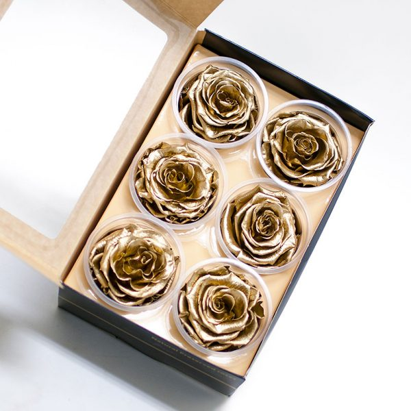 Pack of 6 Gold Preserved Roses