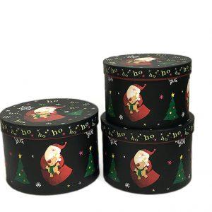 W7819 Round Christmas Santa Flower Boxes Set of 3