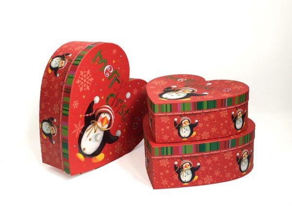 Red Christmas Penguins Heart Shape Flower Boxes