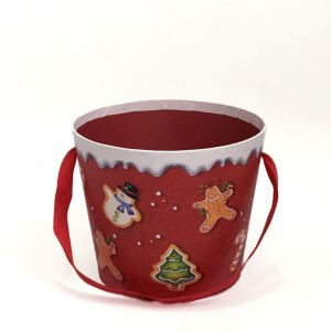 W7947 Red Gingerbread Christmas Flower Box